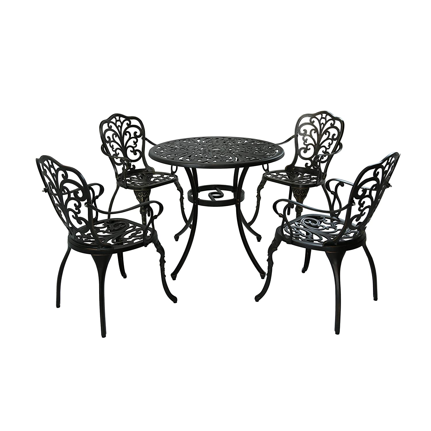 Christopher Knight Home 305416 Zona Outdoor 5 Piece Cast Aluminum Dining Set, Shiny Copper