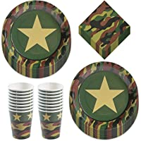 Army Camo Party Pack - Camouflage Paper Dinner Plates, Lunch Napkins, and Cups (Serves 16)