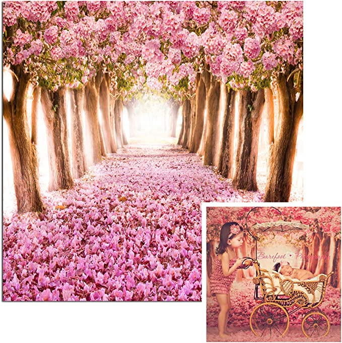 Bed with Different Blossom Types Fresh Flowers Romantic Garden Hand Drawn Artwork Background for Baby Shower Bridal Wedding Studio Photography Pictures Lilac Pink Flower 8x10 FT Photography Backdrop