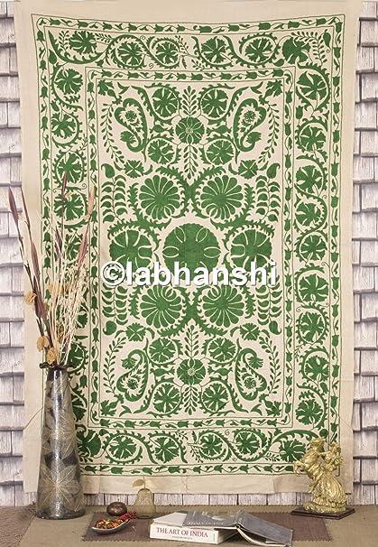 Suzani uzbekas algodón bordado lienzo con diseño de tela de funda de edredón doble colcha Suzani