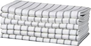 Home Goods S&A Kitchen Towels,Trendy Stripes, 100% Cotton Dish Towels, Mitered Corners, (Size: 18X28 Inch), Grey/White Highly Absorbent Bar Towels & Tea Towels - (Set of 6)