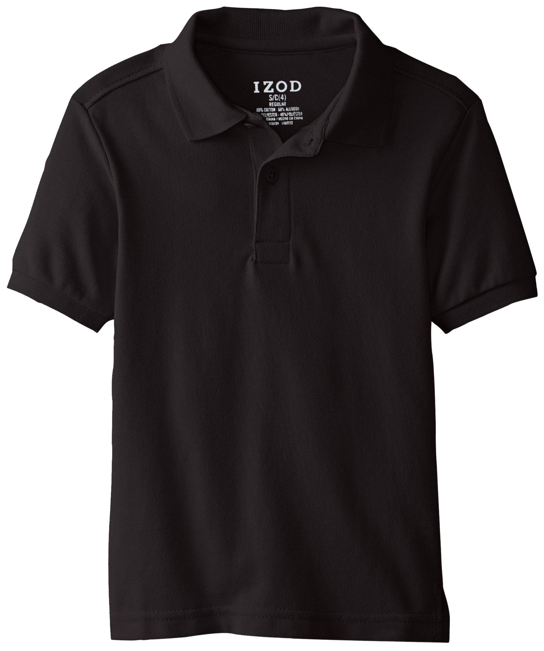 IZOD Little Boys' Short Sleeve Uniform Polo, Black, Small