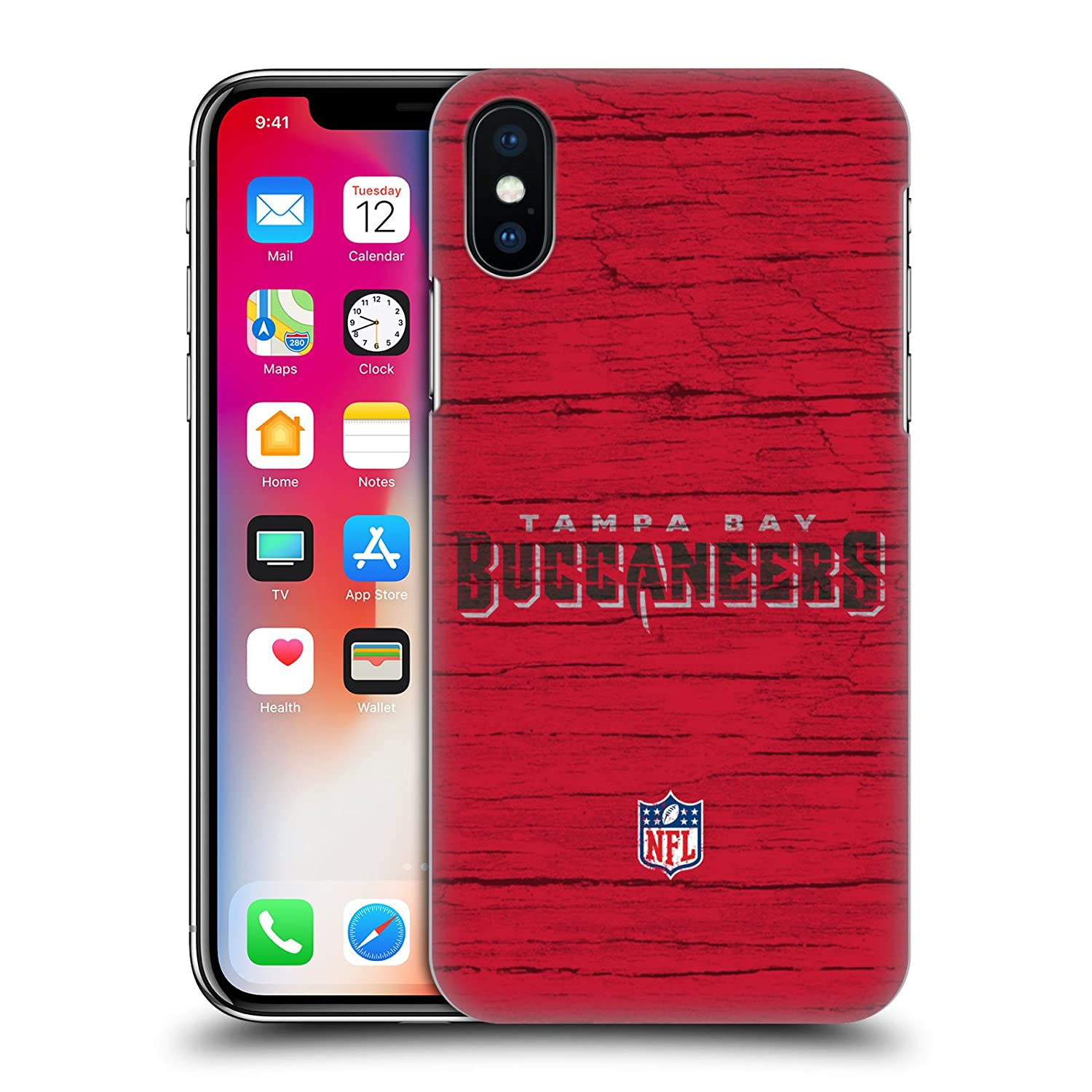 19efcf099f50d Amazon.com: Official NFL Stripes Tampa Bay Buccaneers Logo Hard Back Case  for iPhone X/iPhone Xs: Cell Phones & Accessories