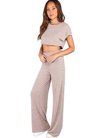 6b56dc2acc Verdusa Women's Sporty 2 Pieces Sets Loose Crop Top and Wide Leg Pants  Blush L