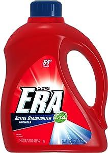 Era 2x Ultra Active Stainfighter Formula Regular Liquid Detergent 64 Loads 100 Fl Oz  (Pack of 4)