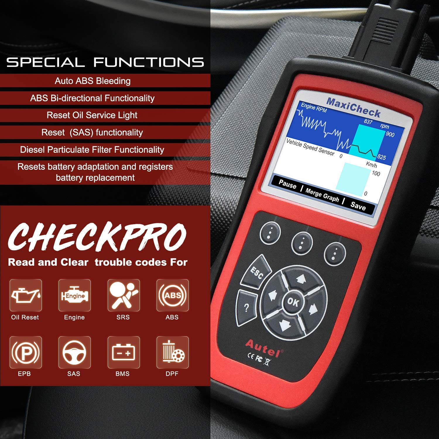 Autel MaxiCheck Pro Diagnostic Tool for ABS Brake Auto Bleed, Oil Service, ABS, SRS, BMS, DPF, EPB Service, SAS, Oil Light/Service Reset Scanner by Autel (Image #8)