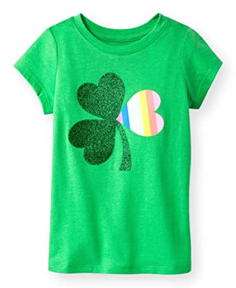 cf6eca12 Cat & Jack Toddler Girls ST Patrick's Day Shamrock Short Sleeve Green  Glitter Rainbow Tee T-Shirt