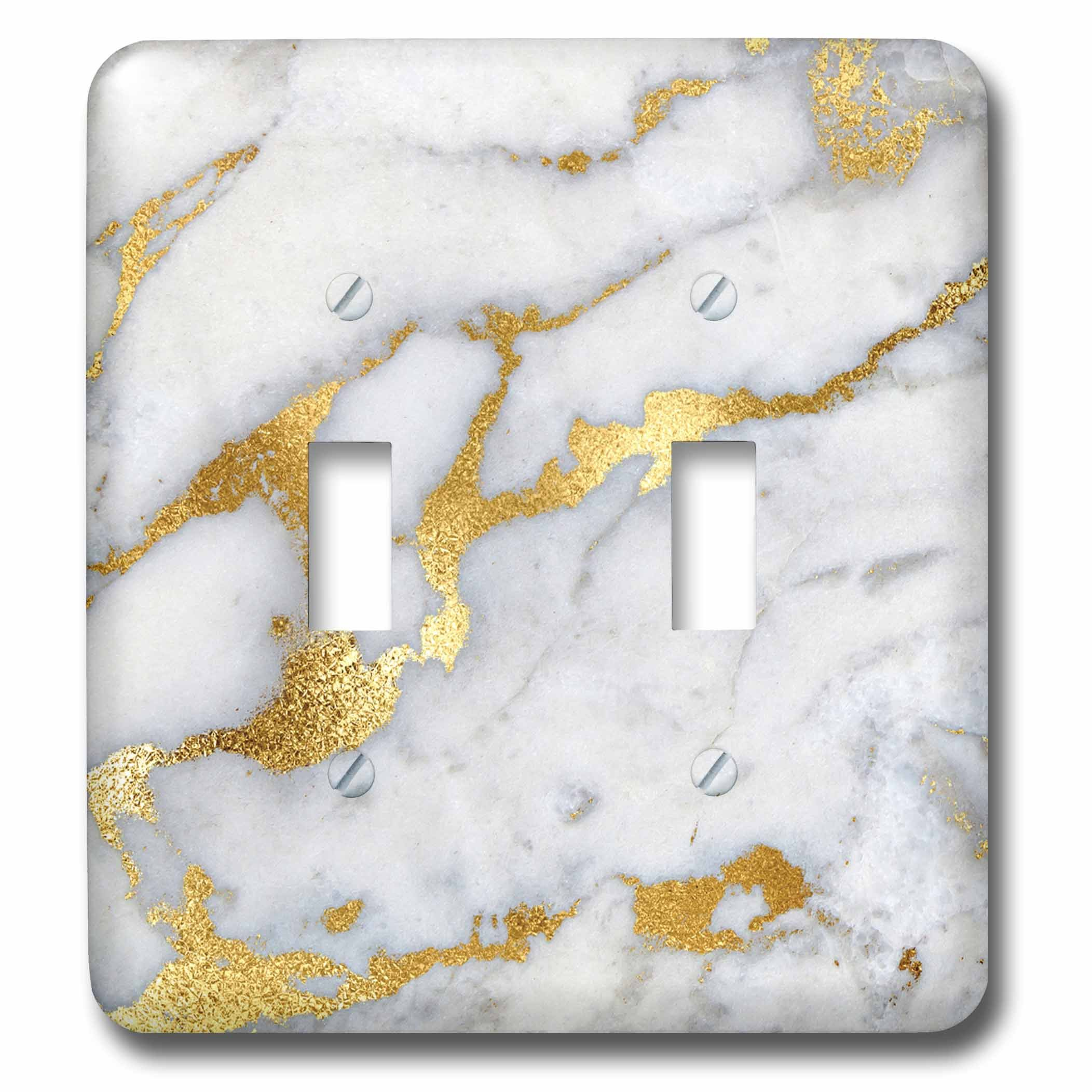 3dRose LSP_268835_2 Image of Luxury Grey Gold Gem Stone Marble Glitter Metallic Faux Print Toggle Switch, Mixed by 3dRose (Image #1)