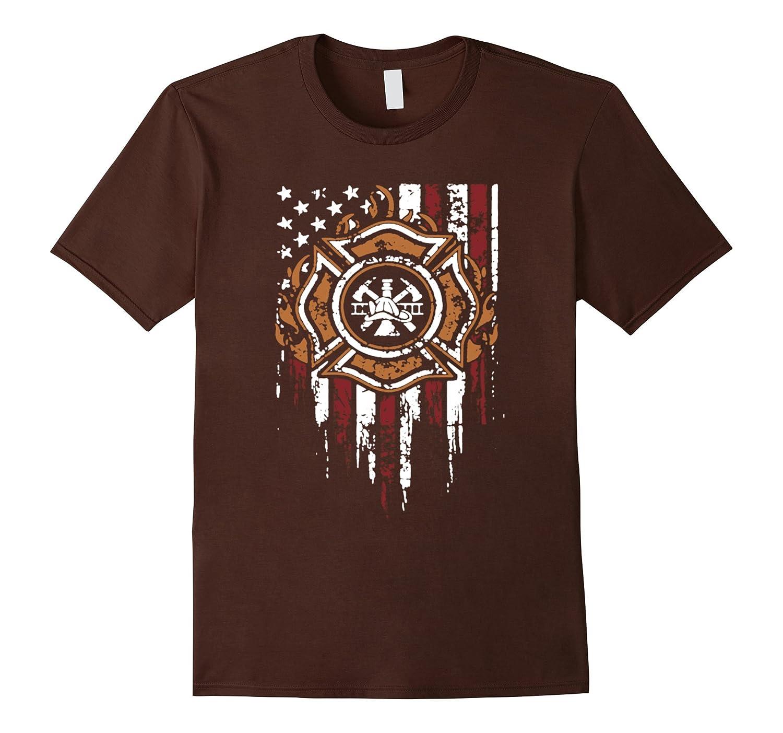 American Flag Firefighter T shirts Fireman-Tovacu