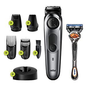 Braun Beard Trimmer BT7240, Hair Clipper for Men, 39 Length Settings, Black/Grey Metal