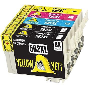 Yellow Yeti Reemplazo para Epson 502 502XL Cartuchos de Tinta ...