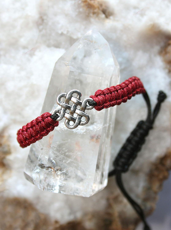 Pulsera roja con el símbolo celta del Nudo sin fin/Pulsera de ...