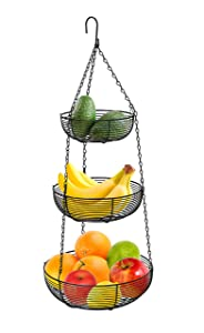 3-Tier Hanging Basket Fruit Organizer Kitchen Heavy Duty Wire Organizer with 2 Free Bonus Metal Ceiling Hooks, Black