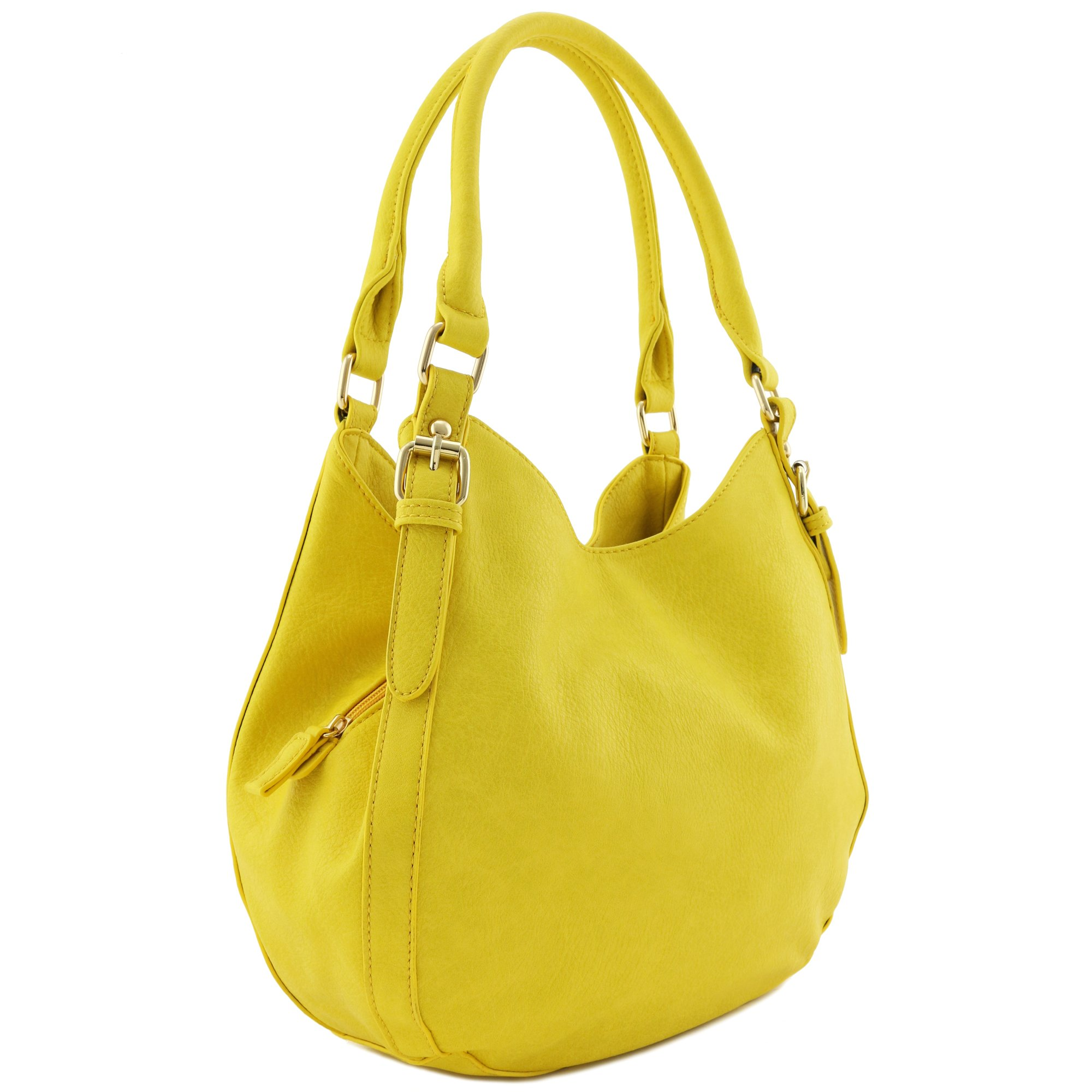 Light-weight 3 Compartment Faux Leather Medium Hobo Bag (Yellow)