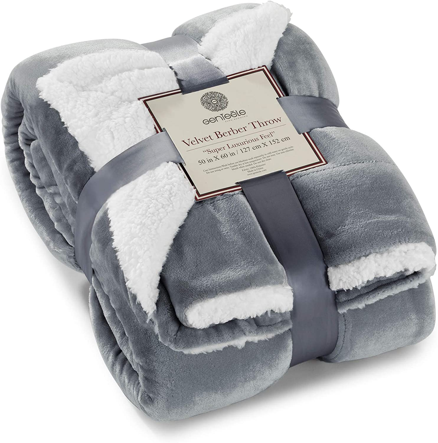 Amazon Com Genteele Sherpa Throw Blanket Super Soft Reversible Ultra Luxurious Plush Blanket 50 Inches X 60 Inches Gray White Home Kitchen