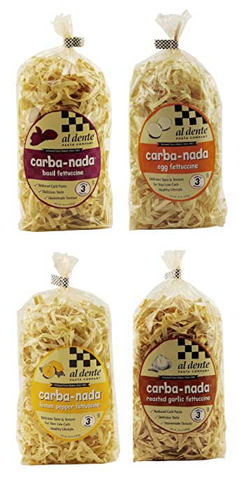 Al Dente Pasta Carba-Nada Low-Carb Fettuccine Pasta Variety Pack - Basil, Lemon Pepper, Roasted Garlic, Egg (4-Pack)