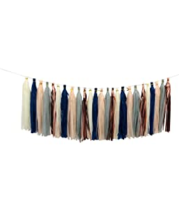 Tissue Paper Tassel DIY Party Garland Decor for All Events & Occasions - 25 Tassels Per Package (Navy Gray Beige Rose Gold Peach)