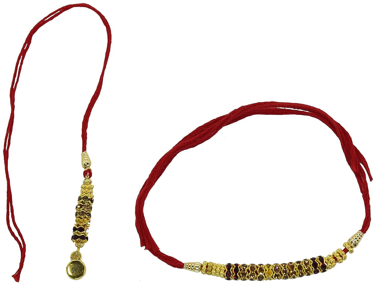 Exquisite Couple Set Golden Rakhi for Raksha Bandhan, Rakhi for Brothers, Red Thread Cilexy