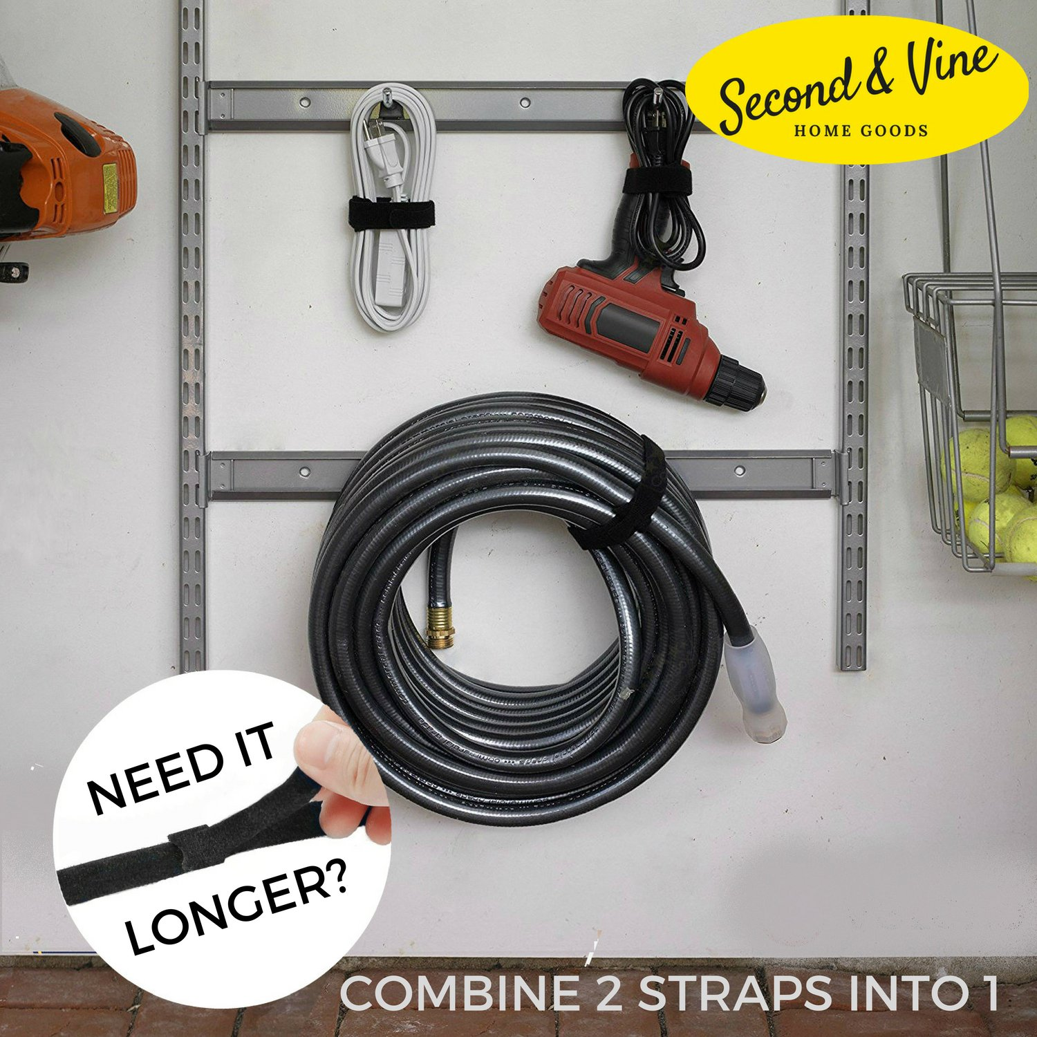 Reusable Cable Ties - Electronics Wire Organizer Cord - Adjustable Hook and Loop - Fabric Zip Ties - 8'' x 0.5'' - Home Office Garage Workshop (100) by Second & Vine (Image #4)