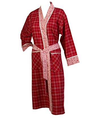 Waite Ltd Ladies 100% Combed Cotton Red Tartan Dressing Gown Pink ...
