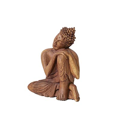 """Serene Spaces Living Wooden Buddha Statue, Beautifully Carved from Teak Wood, Ideal for Meditation, Outdoor Zen Decor, Serenity at Home, Measures 10.5"""" Tall, 8.5"""" Long & 3"""" Wide: Home & Kitchen"""
