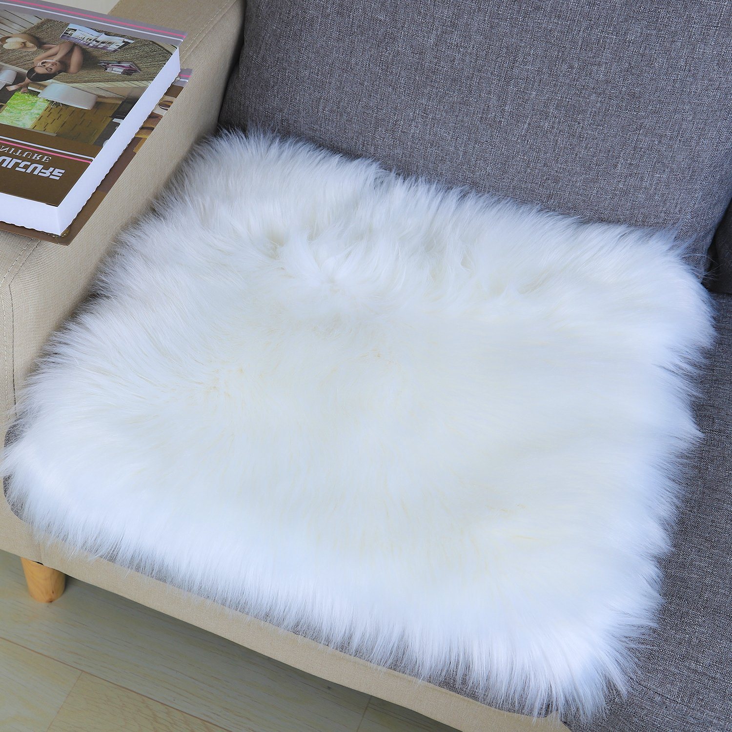 Noahas Faux Fur Sheepskin Silky Seat Cushion, Home Decor Long Wool Area Rugs Carpet, Soft Fluffy Plush Chair Seat Pads Universal Fit for Home Office Restaurant Chair (1.6x1.6 feet, White-Square)