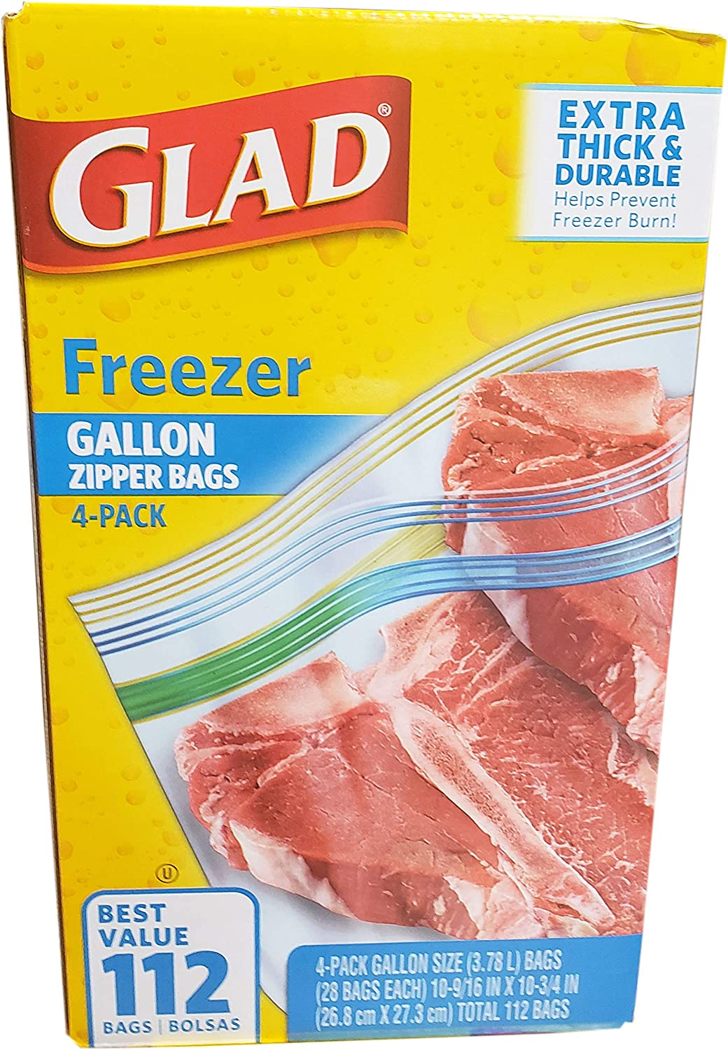 Glad Gallon Freezer Bags, 112 Count
