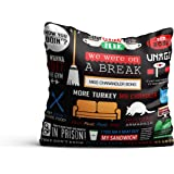 MC SID RAZZ Friends TV Series Infographic Decorative Cushion Covers Officially Licensed by Warner Bros, USA (16x16-inch)
