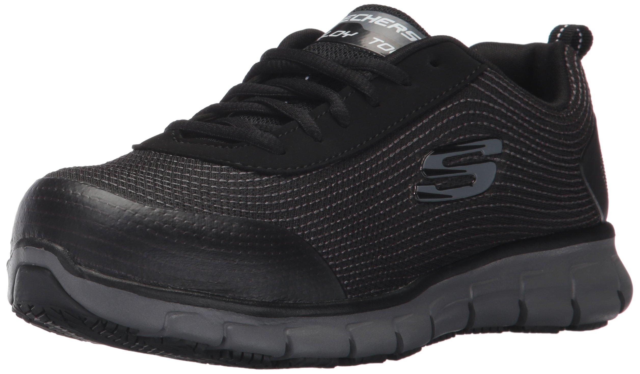 Skechers for Work Women's Synergy Wingor Work Shoe, Black, 7 M US