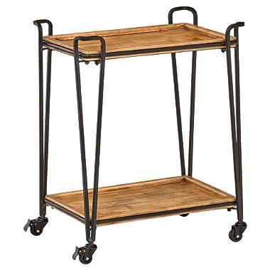 Rivet Industrial 4-Post Rolling Bar Cart, 25.2 W, Natural, Black