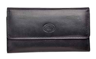 52e3e62ef2b Ladies Soft Nappa Large Matinee Leather Wallet with Back and Inner Zip  (Black)