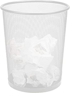 Mind Reader 1CIRGA-WHT Garbage Basket, Recycling Set, Round Metal Mesh Trash Waste Bin, White
