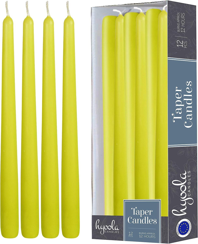 Hyoola 12 Confezione Alto Cono Candele antigoccia Unscented Cena a lume paraffina con Cotone Wicks 8 Ore Autonomia 10 Pollici Lime