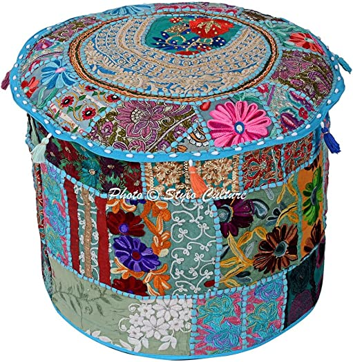 Stylo Culture Patchwork Embroidered Ottoman Cotton Stool Pouf Cover Turquoise Floral Home Decor Traditional Seating Bean Bag Living Room