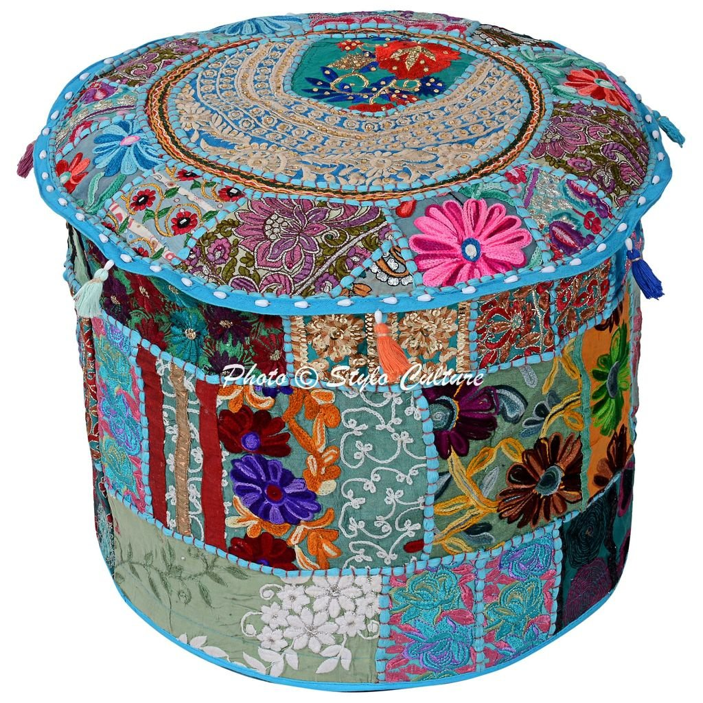 Stylo Culture Traditional Seating Cotton Patchwork Embroidered Ottoman Stool Pouf Cover Turquoise Floral 16'' Footstool Floor Cushion Cover Ethnic Decor by Stylo Culture