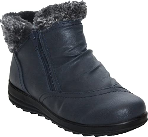 LADIES WINTER WARM FAUX FUR LINED WALKING SHOES WOMENS CASUAL ANKLE BOOTS SIZE