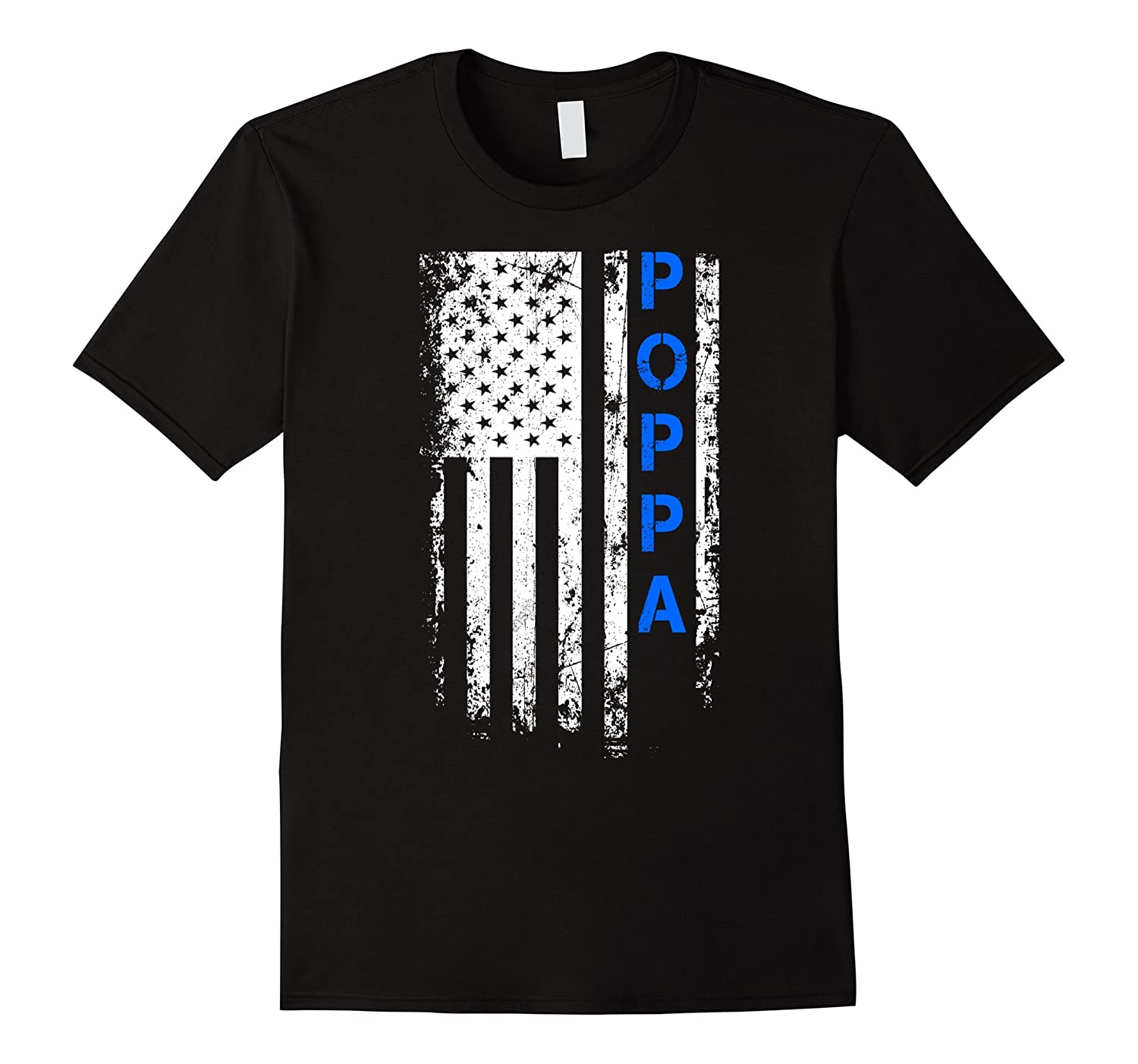 Fathers Day Gift American Blue Poppa flag t-shirt-TH