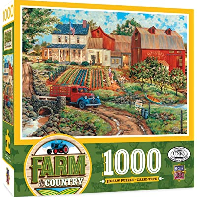 MasterPieces Farm Country Linen Jigsaw Puzzle, Grandma's Garden, Featuring Art by William Kreutz, 1000 Pieces: Toys & Games