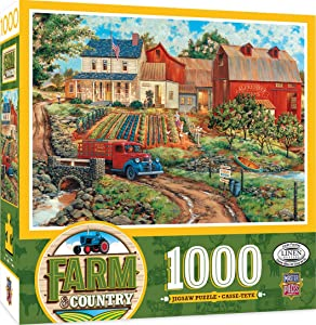 MasterPieces Farm Country Linen Jigsaw Puzzle, Grandma's Garden, Featuring Art by William Kreutz, 1000 Pieces