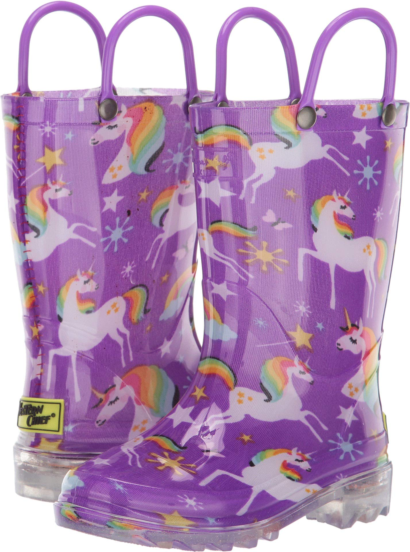 Western Chief Girls' Waterproof Rain Boots That Light Up Each Step, Rainbow Unicorn, 12 M US Little Kid by Western Chief (Image #1)