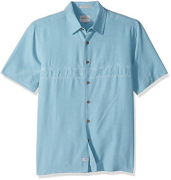 Quiksilver Hombres Manga Corta Camisa con Botones - Azul -: Amazon.es: Ropa y accesorios