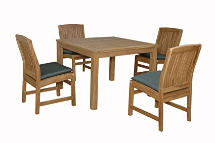 Anderson Teak Chatsworth Bistro Furniture Set With Non Stackable Dining  Chair, Linen Canvas