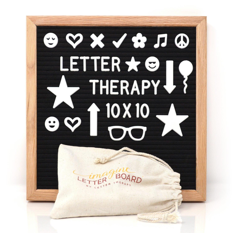 文字療法Changeable 10 x 10文字ボードブラックフェルト(シンボル)文字、数字、句読点と29 Exclusiveセット298-piece |オークウッドフレームW / Hangingマウント| incl.キャンバスバッグ B073LSPCS5