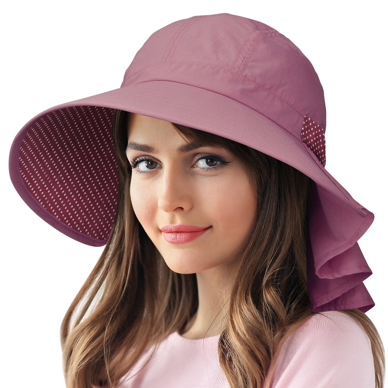 Sun Protection Hats for Women Hiking Garden Safari w/Flap Neck Cover Wide Brim