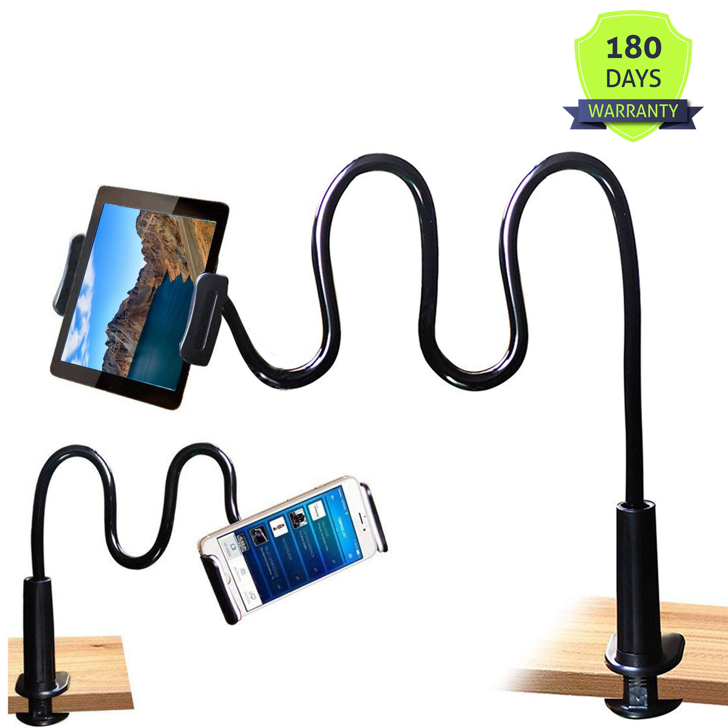 Tablet Stand Holder, Mount Holder Clip with Grip Flexible Long Arm Gooseneck Compatible with ipad iPhone/Nintendo Switch/Samsung Galaxy Tabs/Amazon Kindle Fire HD - Black by MAGIPEA