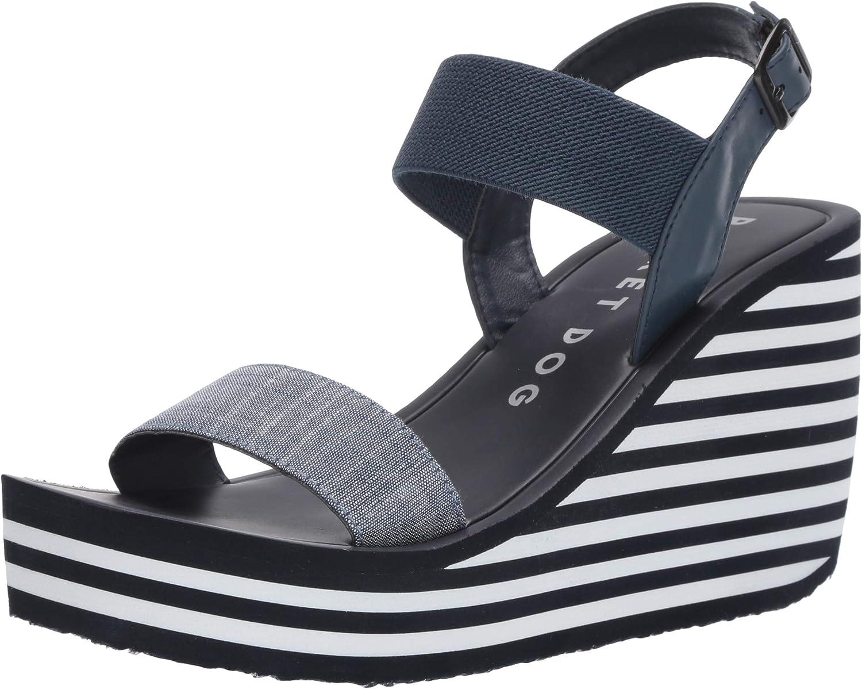White Stripe EVA Wedge Sandal, Navy
