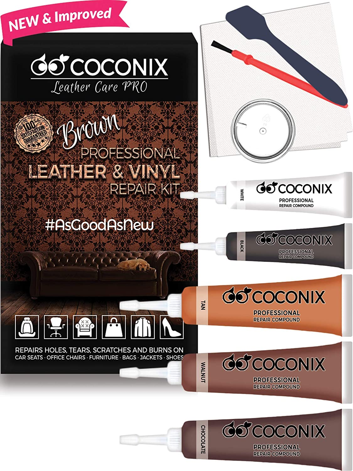 Coconix Brown Leather Repair Kits For Couches - Vinyl & Upholstery Repair Kit For Car Seats, Sofa & Furniture - Liquid Scratch Filler Formula Repairs Couch Tears, Pet Marks, Cat Scratches & Burn Holes