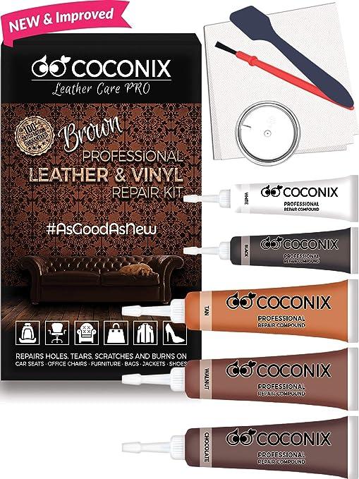 Coconix Brown Leather Repair Kits For Couches - Vinyl & Upholstery Repair  Kit For Car Seats, Sofa & Furniture - Liquid Scratch Filler Formula Repairs  ...