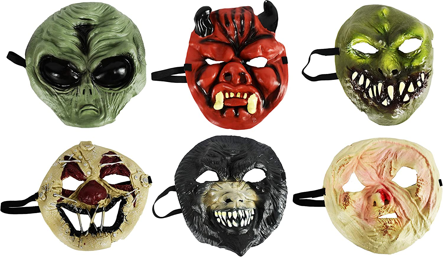 Amazon.com: Set of 6 Assorted Spooky Halloween Masks! Perfect for Scaring!  Green Monster, Black Monster, Flesh Mask Alien, Devil, and Clown!: Clothing