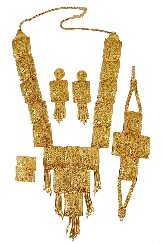 Matra Ethnic Indian Gold Plated 4 Pcs Necklace Set Bollywood